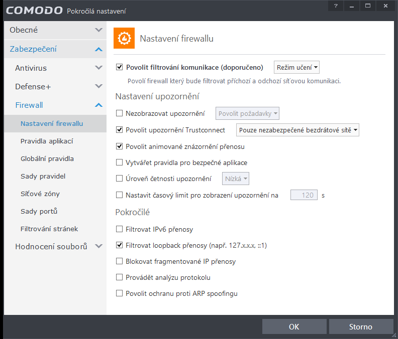 Comodo Internet Security: pokročilá nastavení firewallu