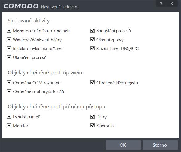Comodo Internet Security: nastavení objektů sledovaných technologií HIPS
