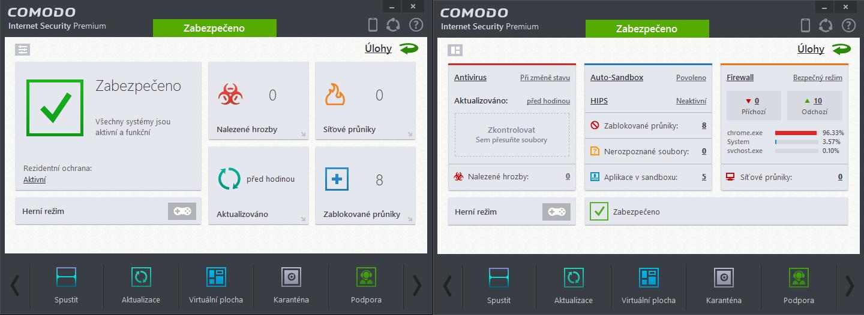 Comodo Internet Security: dvě podoby hlavního okna aplikace