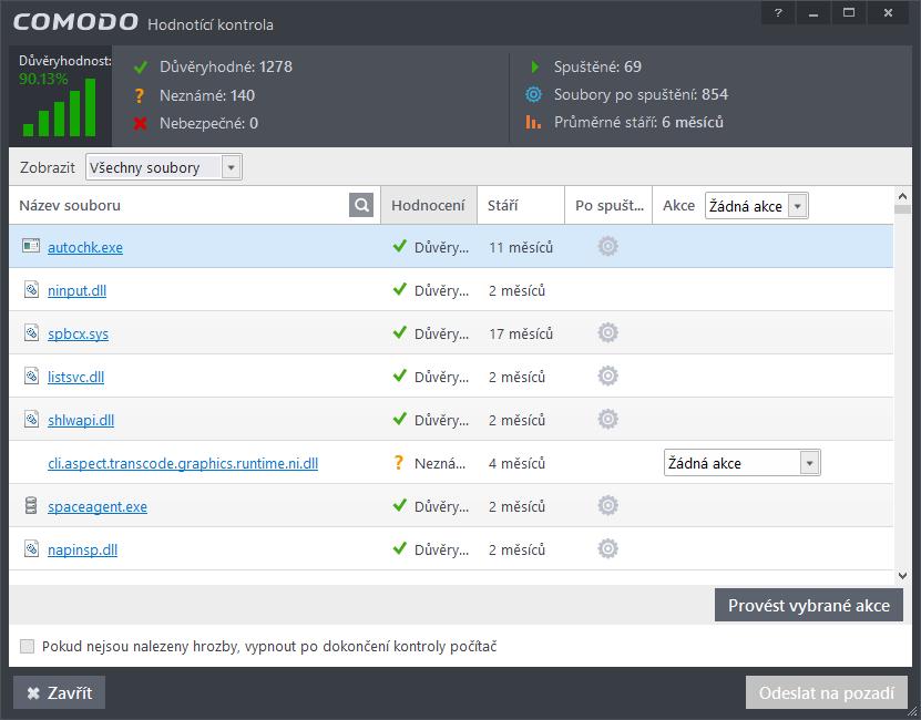Comodo Internet Security: nabídky Hodnotící kontroly