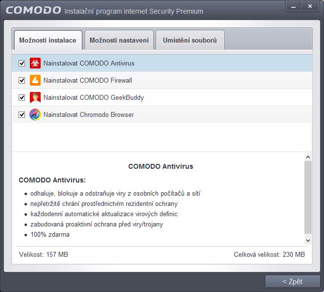 Comodo Internet Security: volby komponent, množství bezpečnostních upozornění a lokace programu