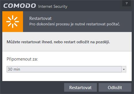 ...a ještě restart a Comodo už je kompletně nainstalováno