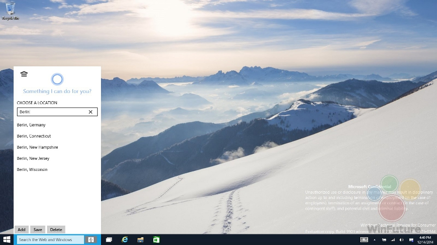 Cortana integrovaná ve Windows 10