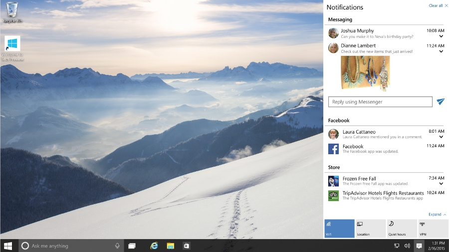 Notifikační centrum na desktopu s Windows 10