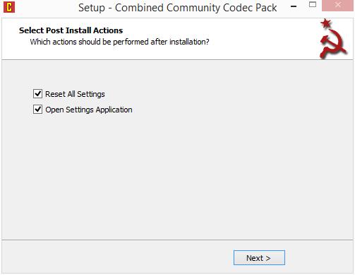 CCCP: zatrhněte volbu Reset All Settings