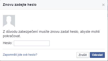 Znovu zadejte heslo pro přihlášení do Facebooku