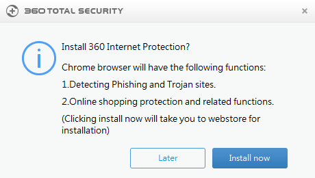 Instalace doplňku Chrome 360 Internet Protection
