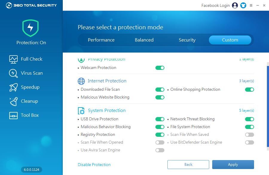360 Total Security: všechny dostupné bezpečnostní funcionality