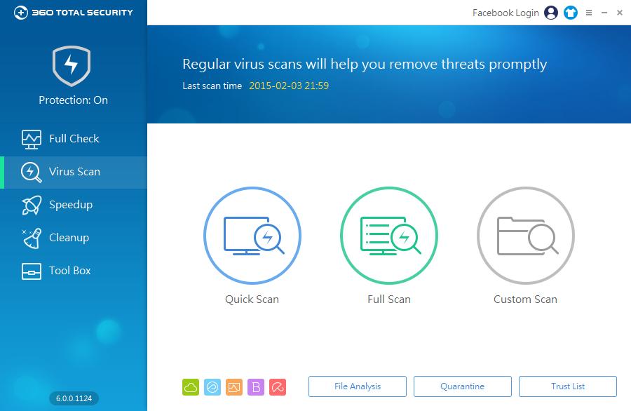 360 Total Security: základní módy virového testu