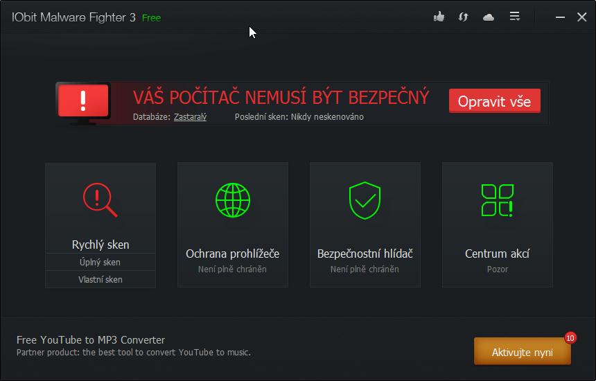 IObit Malware Fighter: přívítání výstrahou