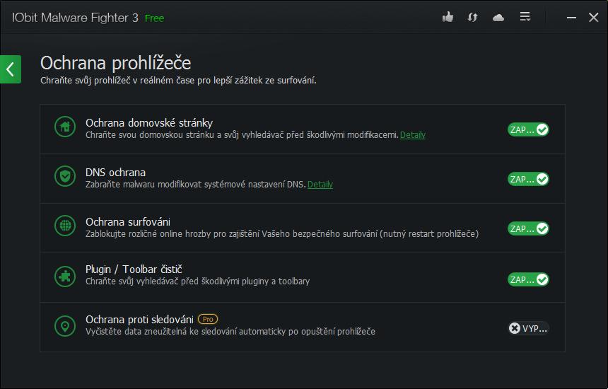 IObit Malware Fighter: volby ochrany prohlížeče