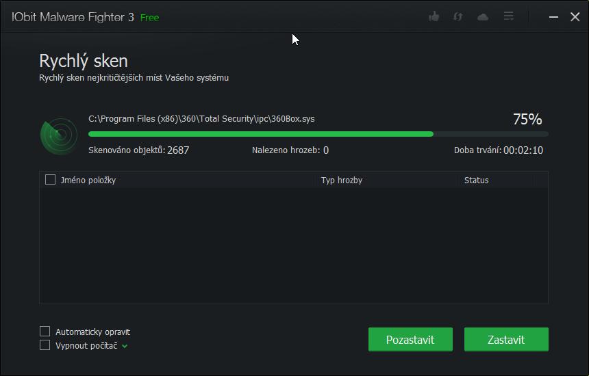 IObit Malware Fighter v rychlém skenu