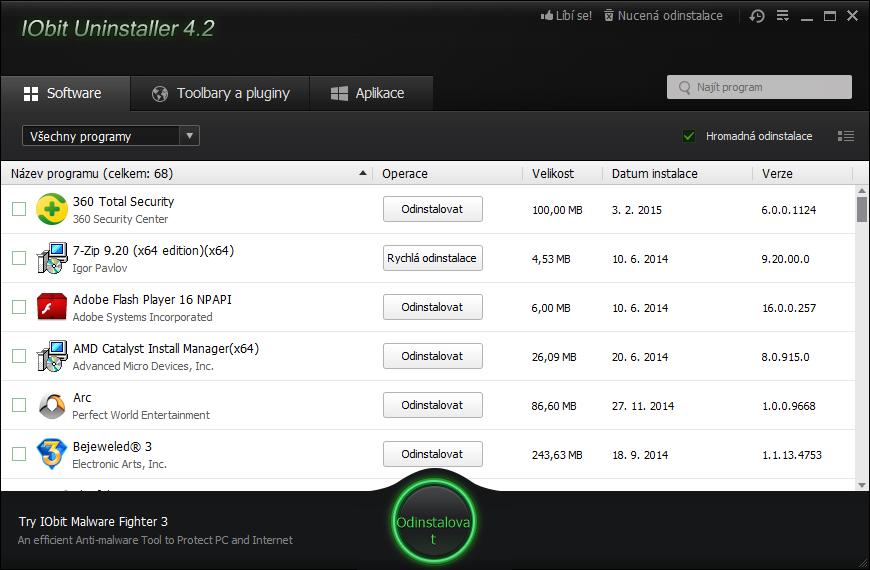 IObit Unistaller připraven k pokročilé odinstalaci programů, toolbarů a systémových aplikací