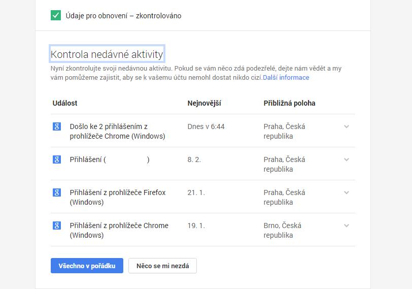 Kontrola nedávné aktivity: místa a prostředky přihlašování do účtu Google