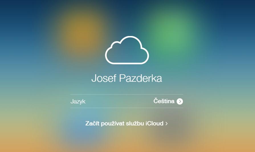 Uvítací obrazovka iCloud