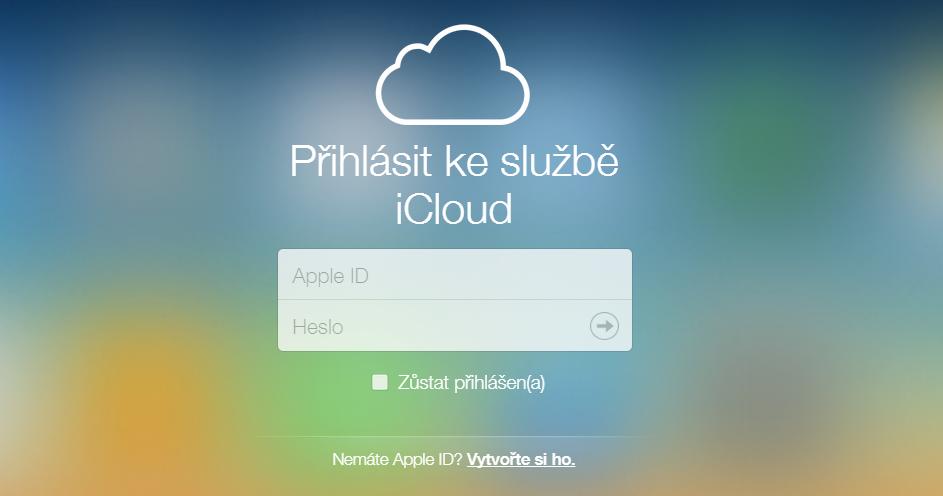 Odklikneme vytvoření nového Apple ID