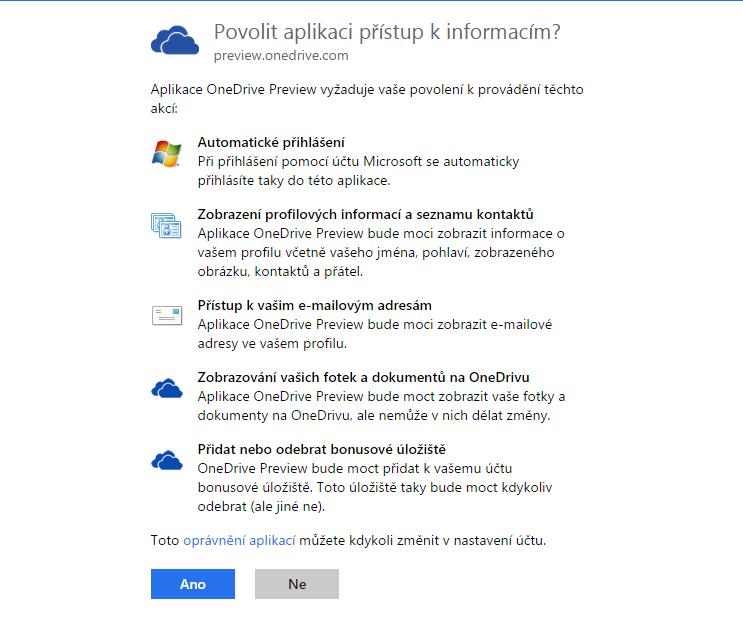 Stačí jen povolit přístup OneDrive ke všem těmto informacím...