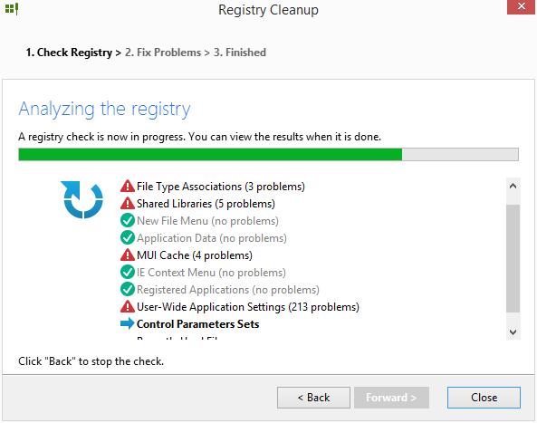 Registry Cleanup znovu skenuje možné problémy registru
