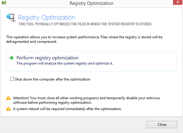 Registry Optimization: vypnout ostatní aplikace a připravit se na restart