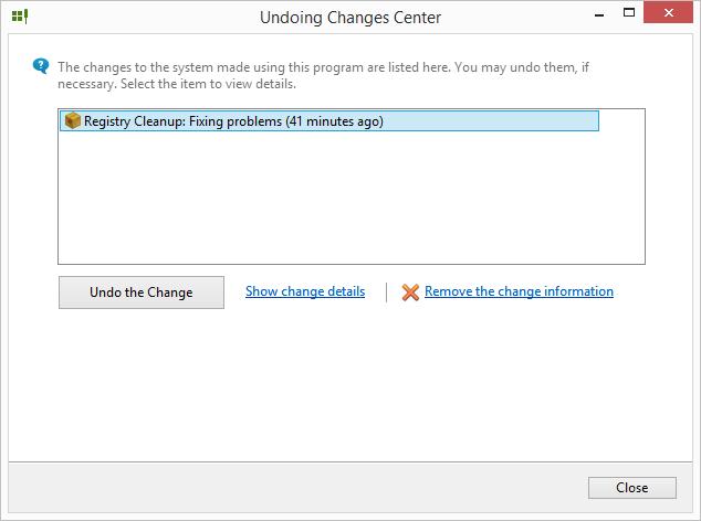 Vrácení změn provedených aplikací Registry Life