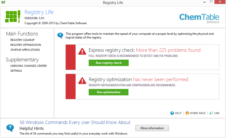 Registry Life nás přivítá uvodním skenem registru