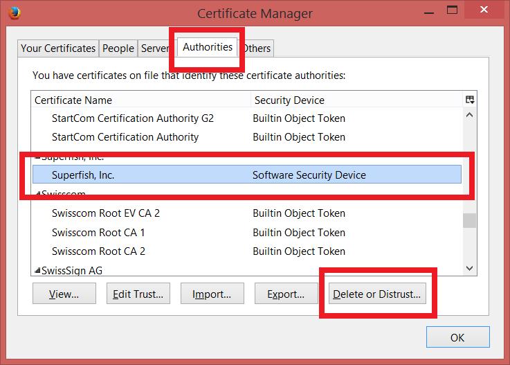 Odstraňte certifikát Superfish, Inc. z certifikátů Firefoxu