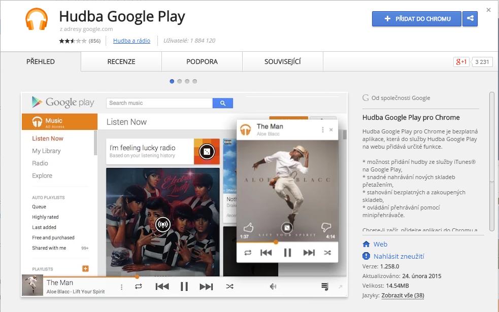 Hudba Google Play pro Chrome
