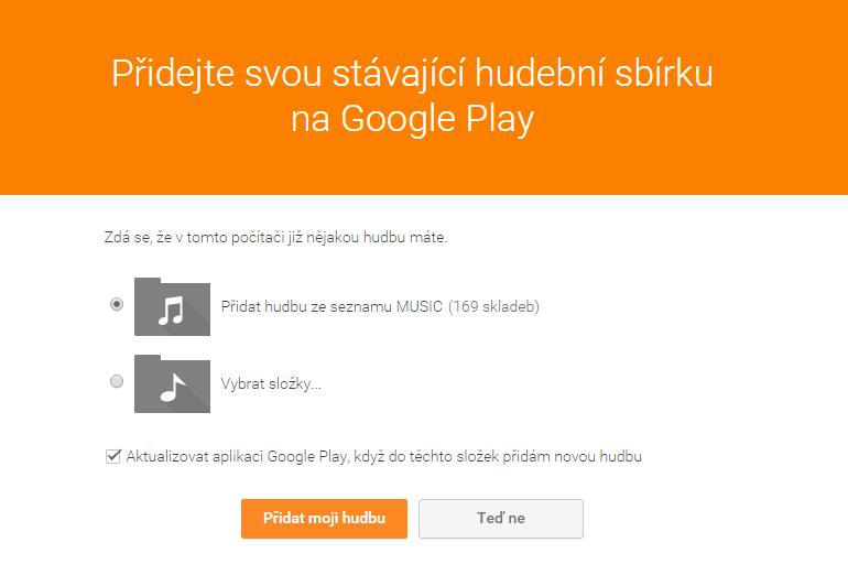 Konfigurace automatického přidávání hudby na Google Play