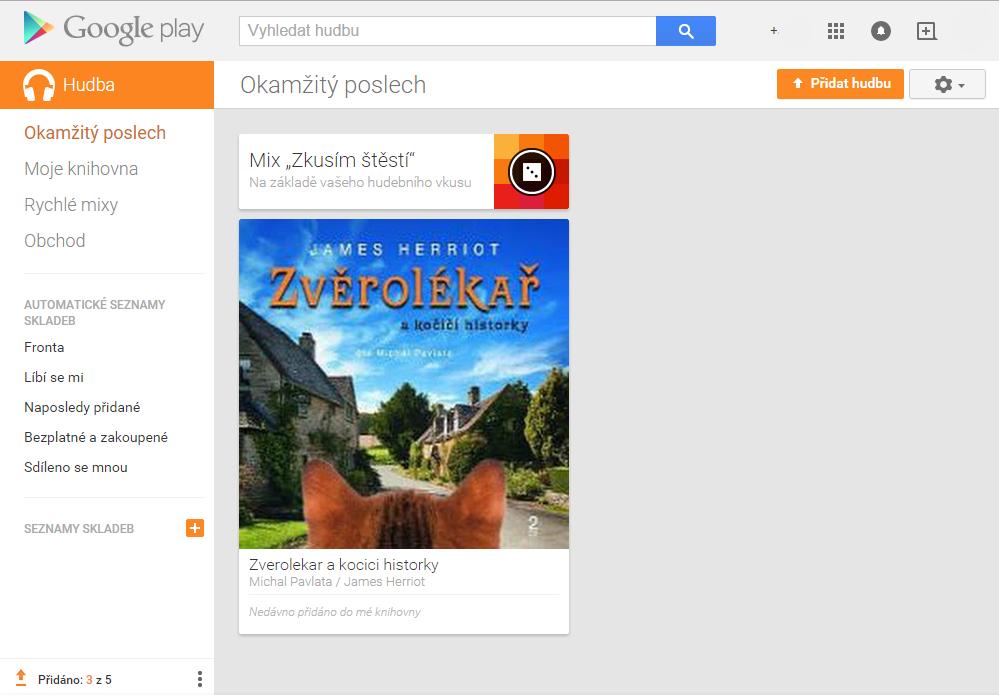 Nahrání hudby na Google Play + automatické přiřazení přebalu