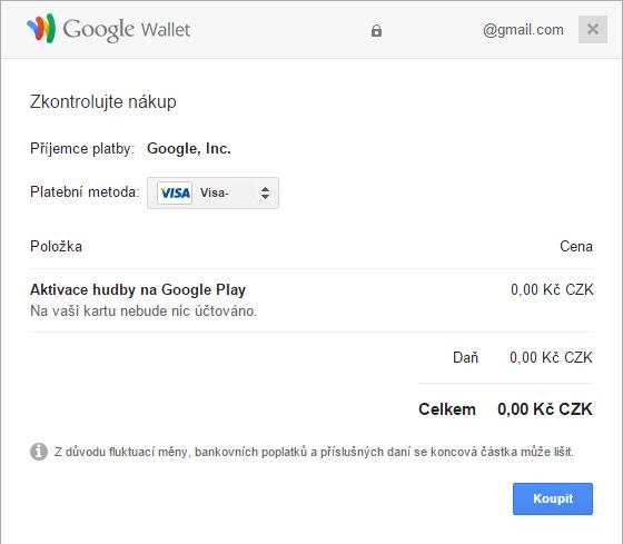 Potvrdíme bezplatnou aktivaci hudby na Google Play