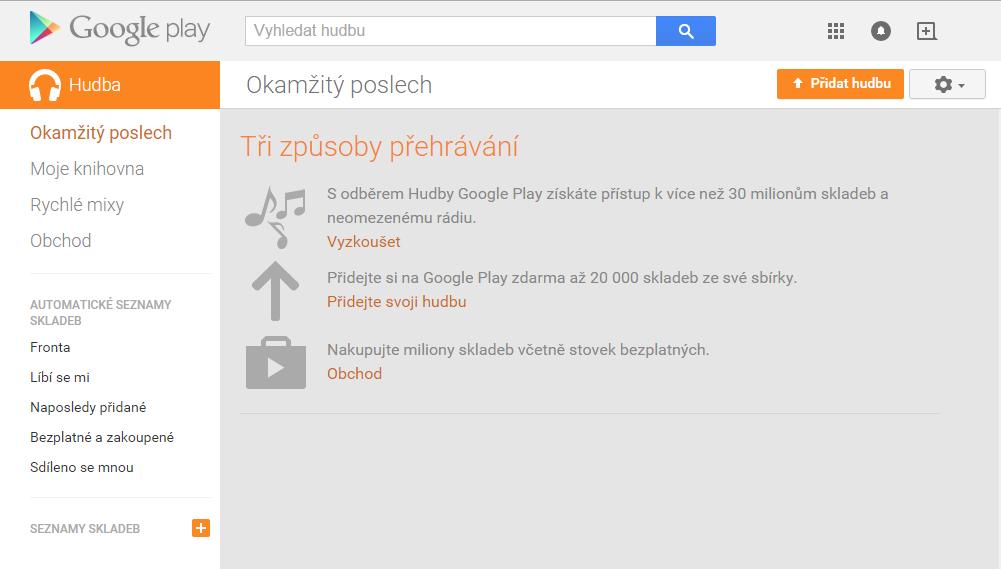 Rozhraní Hudby Google Play