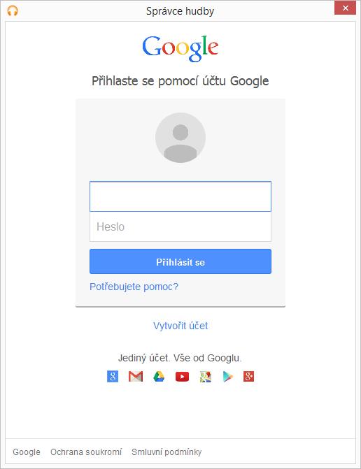 Přihlásíme Správce hudby do Google účtu