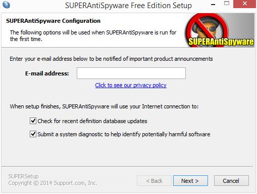 SuperAntiSpyware: poslední krok instalace