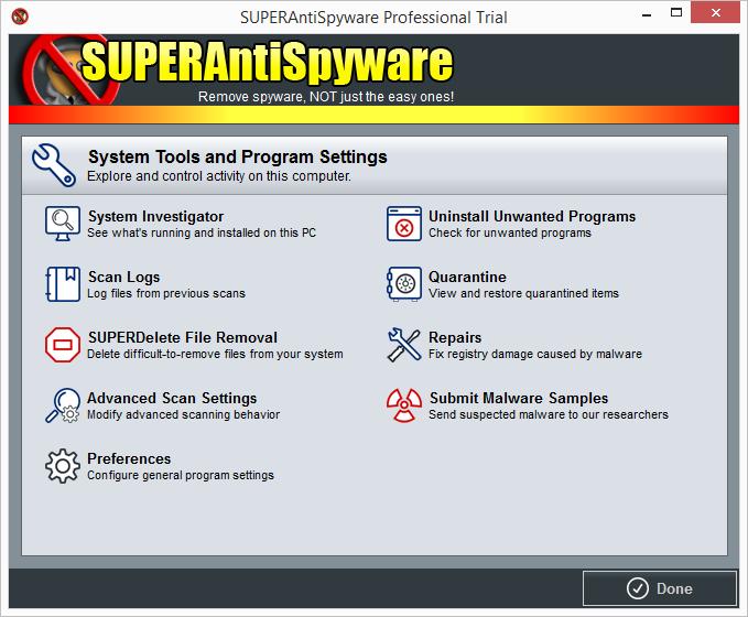 SuperAntiSpyware: systémové nástroje a programová nastavení