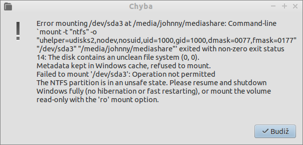 Problém s mountováním NTFS oddílu zapříčiněný funkcí Rychlého spuštění