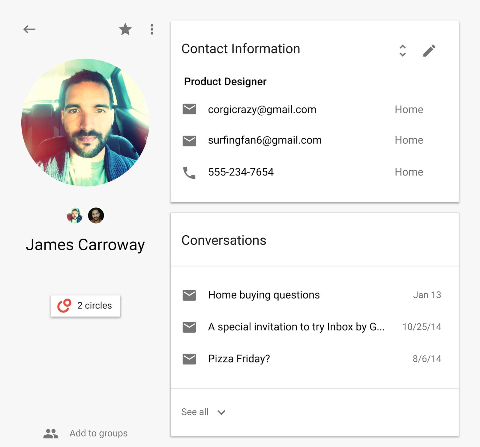 V dolní části obrazovky vidíme poslední emailové konverzace s uživatelem