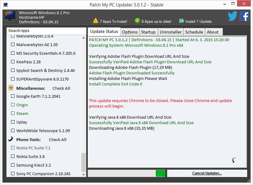 Patch My PC stahuje a instaluje novější verze zastaralých programů