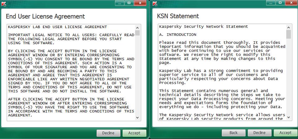 Kaspersky TDSSKiller: jen odsouhlasíme licenci a prohlášení Security Network...