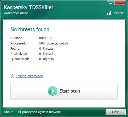 Kaspersky TDSSKiller neidentifikoval žádný podezřelý objekt