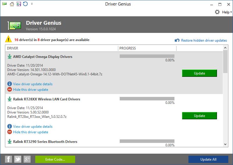 Driver Genius skenuje systém ihned po prvním spuštění