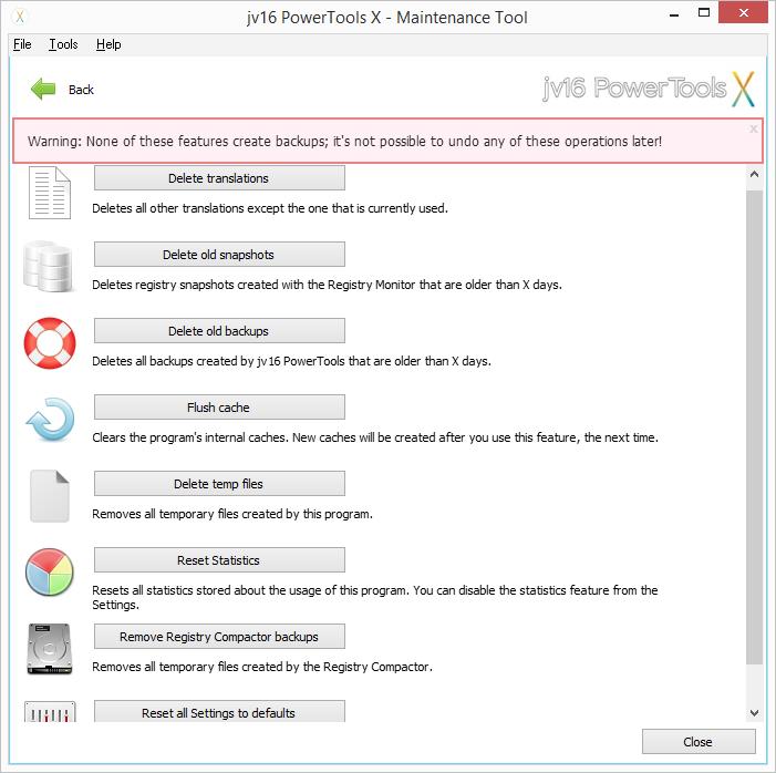 Položka Maintance menu Configuration