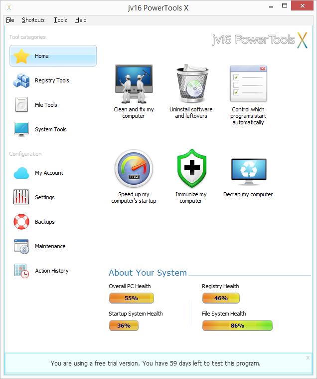 Výchozí obazovka prostředí jv16 PowerTools X