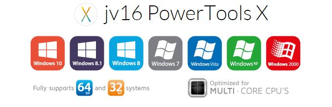 jv16 PowerTools X podporuje širokou škálu Windows