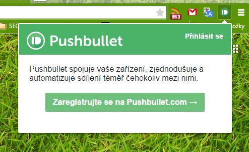 Zaregistrujeme rozšíření na Pushbullet.com