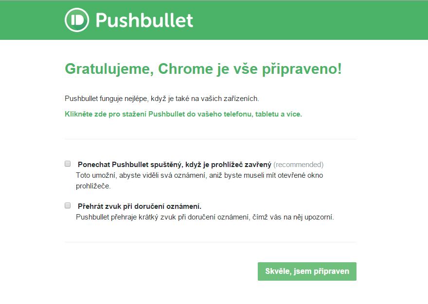 Finální nastavení běhu Pushbullet na pozadí a přehrávání zvukových upozornění