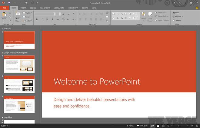 Temný motiv vzhledu PowerPointu nového Office 2016 (zdroj: The Verge)