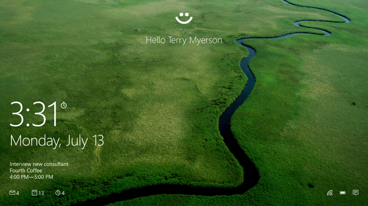 Windows 10 jsou připravena k přihlášení pomocí Windows Hello