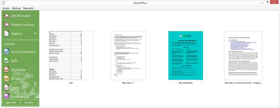 LibreOffice Online by měly obsahovat všechny základní aplikace desktopové verze