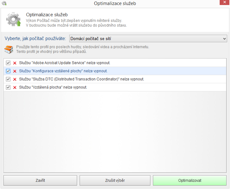 Kerish Doctor 2015 přízpůsobí počítač specifickému používání pomocí Optimalizace služeb