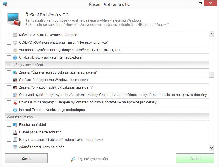 Na otravné maličkosti má Kerish Doctor 2015 nástroj Řešení problémů s PC